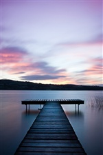 Ireland landscape, river, wooden bridge, dawn iPhone wallpaper