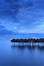 Malaysia, calm sea, coast, houses, blue iPhone wallpaper