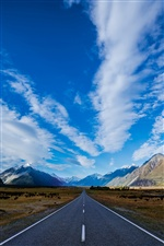 New Zealand, road, mountains, sky, clouds iPhone wallpaper