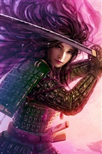 Purple fantasy girl warrior iPhone wallpaper