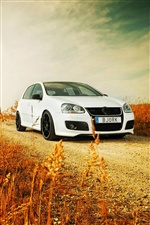White Volkswagen Golf car iPhone wallpaper