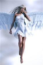Beautiful angel girl, white clothes iPhone wallpaper