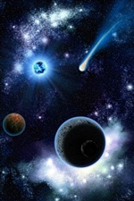 Beautiful cosmic space, planets, stars iPhone wallpaper