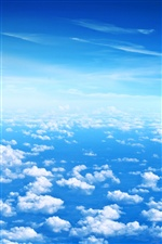 Blue sky, white clouds iPhone wallpaper