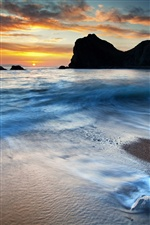 Coast landscape, sunset, rocks, sea, beach iPhone wallpaper