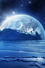 Cold winter, blue sea ice, planet iPhone wallpaper