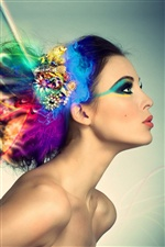 Colorful hair girl, creative design iPhone wallpaper