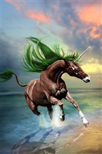 Creative design pictures, brown unicorn iPhone wallpaper