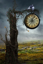 Creative design, tree clock iPhone wallpaper