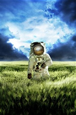 Creative pictures, astronaut, green grasslands iPhone wallpaper