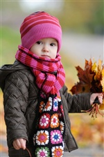 Cute baby in autumn iPhone wallpaper