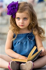 Cute little girl reading a book iPhone wallpaper