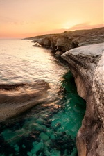 Cyprus scenery, sea, coast, dusk sunset iPhone wallpaper