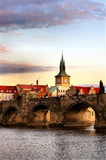 Czech Republic, Prague, river, bridge, houses iPhone wallpaper