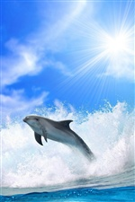 Dolphins and blue sea waves iPhone Wallpaper