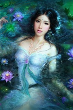 Fantasy Asian girl in lotus pool iPhone wallpaper