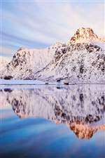 Norway winter mountains, snow, water reflection iPhone wallpaper