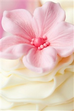 Pink cream flower decorations iPhone wallpaper