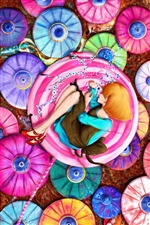 Art design, girl, colorful umbrellas iPhone wallpaper