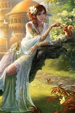 Art fantasy girl, feeding squirrel in garden iPhone Wallpaper