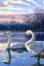 Art painting, lake, swan iPhone wallpaper