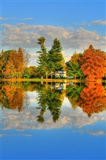 Autumn lake, trees, house iPhone wallpaper