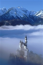 Castle in the clouds, German scenery iPhone wallpaper