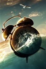 Clock alarm in water iPhone wallpaper