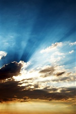 Clouds with sun rays iPhone wallpaper