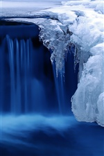 Cold winter ice, water, blue iPhone wallpaper