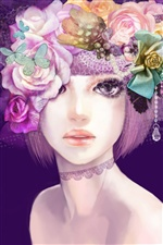 Colorful flowers, girl hair makeup, creative design iPhone wallpaper