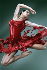 Creative dance of the red skirt girl iPhone wallpaper