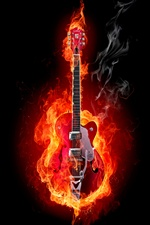 Creative picture, fire guitar iPhone wallpaper