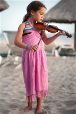 Cute little girl playing a violin iPhone wallpaper