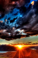 Dawn sky thick clouds, sunrise iPhone wallpaper