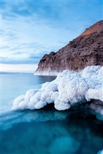 Dead sea coast, white salt iPhone wallpaper