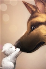 Dog and kitten friendship kiss iPhone wallpaper