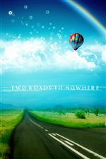 Dream world, road, hot air balloon iPhone wallpaper