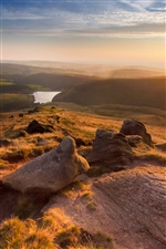 England, Manchester, mountains, sunset iPhone wallpaper