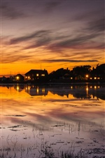 England town scenery, house, sunset, lake reflection iPhone wallpaper