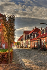 Europe, houses, street, autumn morning iPhone wallpaper