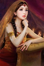 Exquisite dress, charming fantasy girl iPhone wallpaper