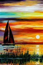 Exquisite painting, sunset sea boat iPhone wallpaper