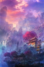Exquisite watercolors, mist, mountain, temple iPhone wallpaper