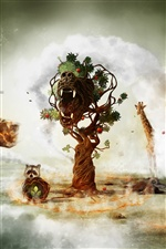 Fantasy art creative animals and tree iPhone Wallpaper
