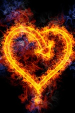 Flame love heart-shaped iPhone Wallpaper