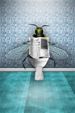 Flies in the toilet reading the newspaper iPhone wallpaper