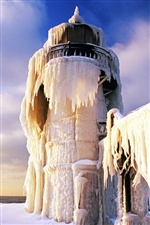 Frozen lighthouse iPhone wallpaper
