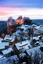 Germany, Saxony, houses, winter snow iPhone wallpaper