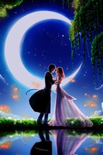 Moonlight dating boy and girl iPhone wallpaper